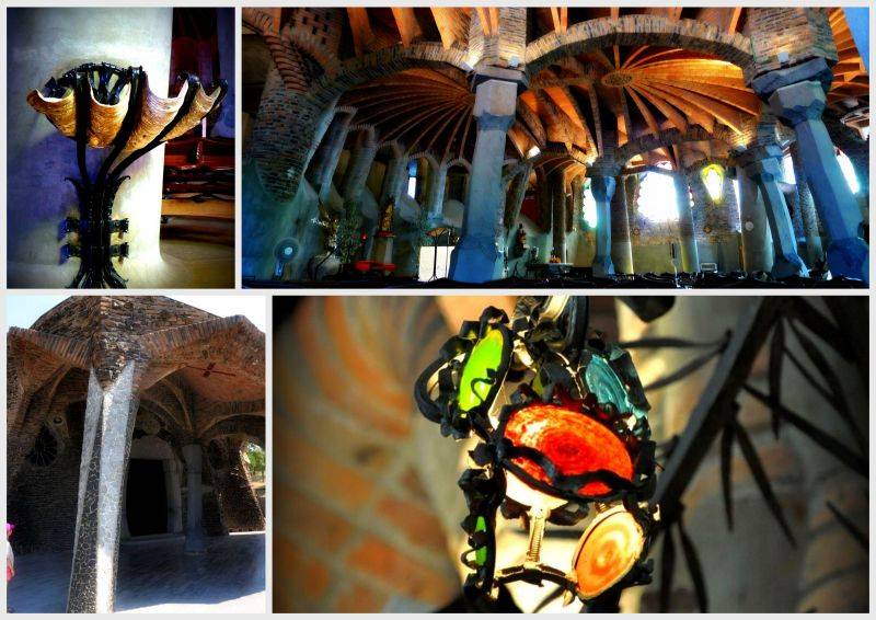 The interior of Gaudi's church in Colonia Guell