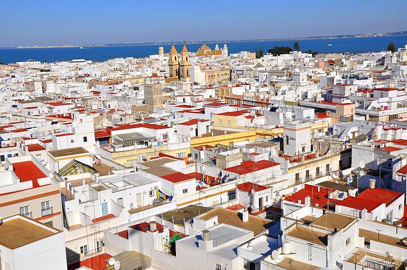 Andalusia, kitesurfing, tapas, spain  The view of Cadiz - old town